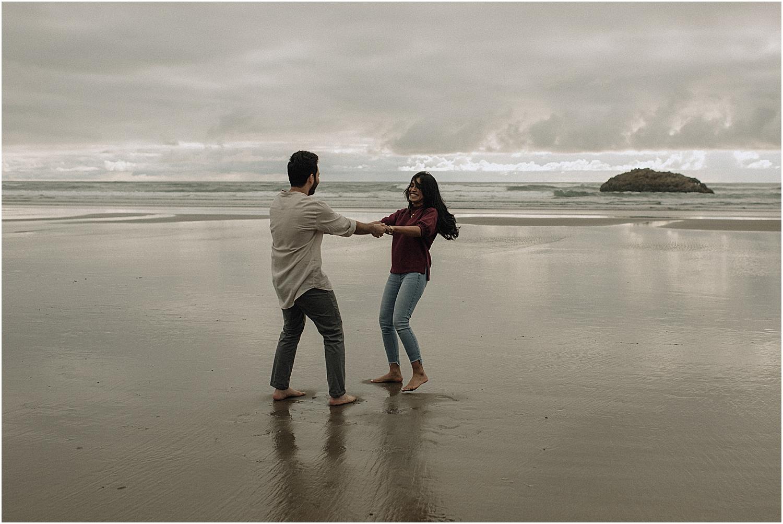 hug point engagement session on the majestic oregon coast